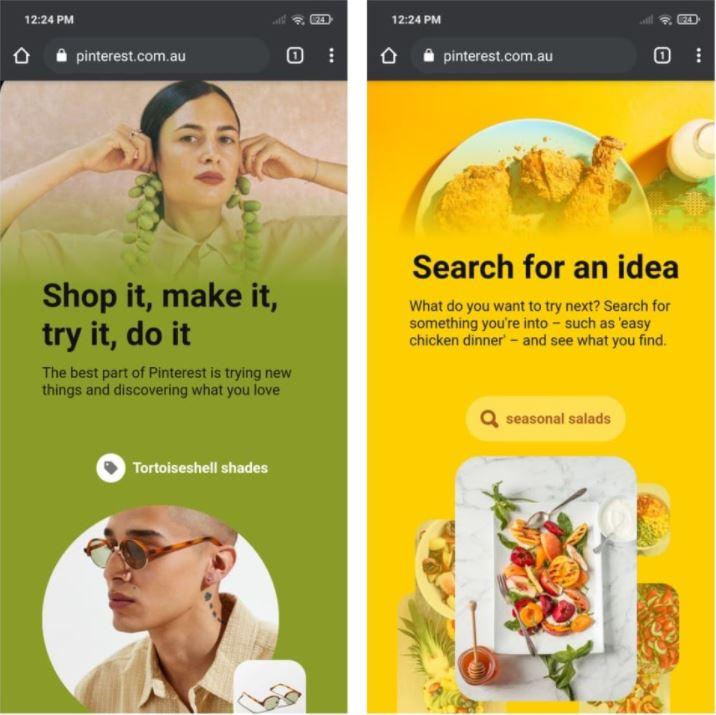 Pinterest example PWA - Zyrous application development company Perth